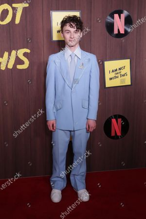 Wyatt Oleff arrives at the premiere of the Netflix movie 'I Am Not Okay With This' at The London West Hollywood hotel in Los Angeles, California, USA, 25 February, 2020.