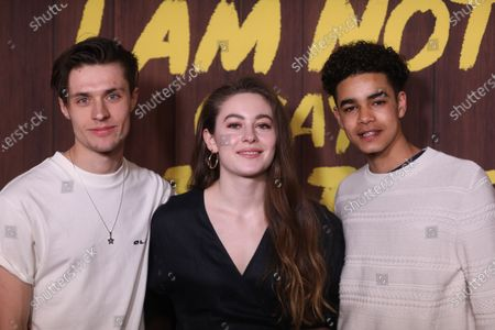 Dutch actor Gijs Blom (L), British actress Ruby Serkis (C) and British actor Amir Wilson (R) arrive at the premiere of the Netflix movie 'I Am Not Okay With This' at The London West Hollywood hotel in Los Angeles, California, USA, 25 February 2020.