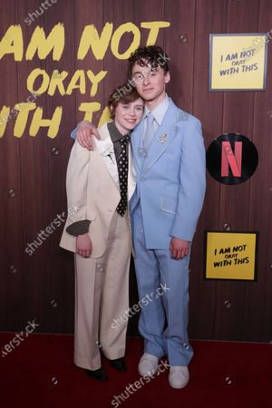 Sophia Lillis (L) and Wyatt Oleff (R) arrive at the premiere of the Netflix movie 'I Am Not Okay With This' at The London West Hollywood hotel in Los Angeles, California, USA, 25 February 2020.
