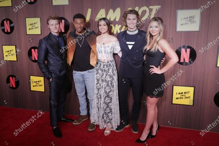 US actor Rudy Pankow, US actor Jonathan Daviss, US actress Bailee Madison, US actor Chase Stokes and US actress Madelyn Cline pose on the red carpet during the premiere of the Netflix movie 'I Am Not Okay With This' at The London West Hollywood hotel in Los Angeles, California, USA, 25 February 2020.
