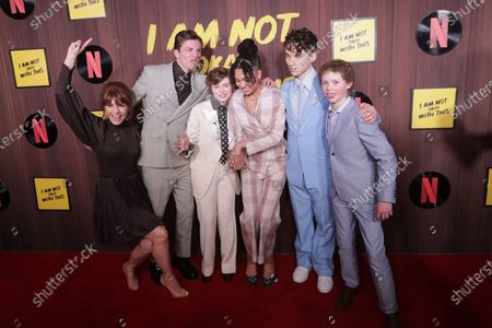 Kathleen Rose Perkins, US actor Richard Ellis, US actress Sophia Lillis, American-Finnish actress Sofia Bryant, US actor Wyatt Oleff and American-Canadian actor Aidan Wojtak-Hissong pose on the red carpet during the premiere of the Netflix movie 'I Am Not Okay With This' at The London West Hollywood hotel in Los Angeles, California, USA, 25 February 2020.