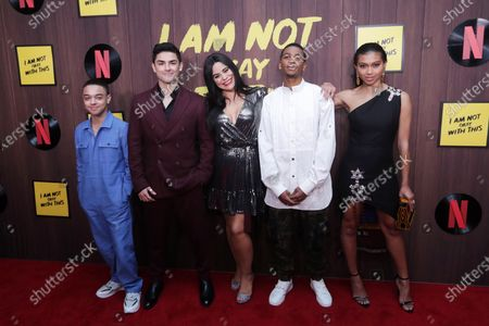 Jason Genao, Diego Tinoco, Jessica Marie Garcia, Brett Gray, and Sierra Capri pose on the red carpet during the premiere of the Netflix series 'I Am Not Okay With This' at The London West Hollywood hotel in Los Angeles, California, USA, 25 February 2020.