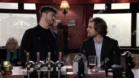Ep 10023 Wednesday 4th March 2020 - 2nd Ep In the Rovers, Adam Barlow, as played by Sam Robertson, dupes Ali Neeson, as played by James Burrows, into confessing to his recent fling with Maria. Having assured Ali that his secret is safe with him, Adam heads out grinning to himself.