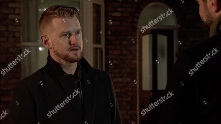 Ep 10024 Friday 6th March 2020 - 1st Ep Back on the street Gary Windass, as played by Mikey North, approaches Adam Barlow, as played by Sam Robertson, who is about to leave for his honeymoon but he's shocked with what Adam has to say.