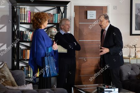 Stock Picture of Ep 10031 Friday 13th March 2020 - 2nd Ep Ken Barlow, as played by William Roache, and Claudia Colby, as played by Rula Lenska, move into Stillwaters and are immediately made to feel welcome by fellow resident, Charles Moore, as played by Michael Elwyn.