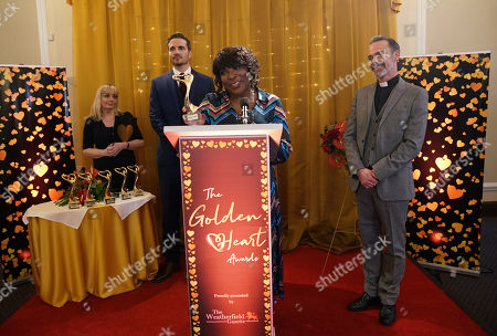 Ep 10026 Monday 9th March 2020 - 1st Ep At The Weatherfield Golden Hearts Awards Aggie Bailey, as played by Lorna Laidlaw, collects her award and delivers a heartfelt speech. Ed Bailey, Michael Bailey and James Bailey look on proudly.