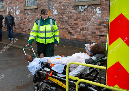 Ep 10026 Monday 9th March 2020 - 1st Ep Maria Connor and Gary Windass watch in horror as Ali Neeson, as played by James Burrows, is loaded into an ambulance.