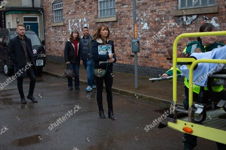 Stock Picture of Ep 10026 Monday 9th March 2020 - 1st Ep Maria Connor, as played by Samia Longchambon, and Gary Windass, as played by Mikey North, watch in horror as Ali Neeson, as played by James Burrows, is loaded into an ambulance.