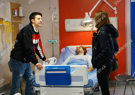 Stock Photo of Ep 10027 Monday 9th March 2020 - 2nd Ep Maria Connor, as played by Samia Longchambon, calls at the hospital for news of Ali Neeson, as played by James Burrows. An angry Ryan Connor, as played by Ryan Prescott, blames her for playing him off against Gary.