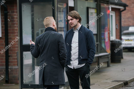 Stock Image of Ep 10029 Wednesday 11th March 2020 - 2nd Ep Gary Windass, as played by Mikey North, confronts Ali Neeson, as played by James Burrows, on the street and warns him to stay away from Maria.