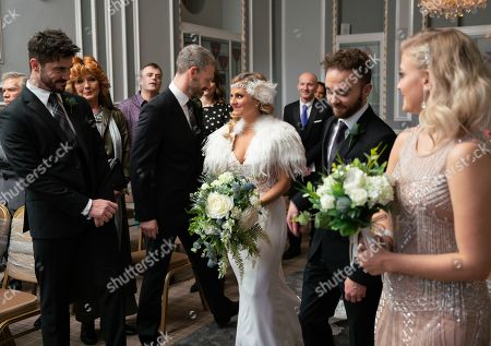 Ep 10021 Monday 2nd March 2020 - 2nd Ep Sarah Platt, as played by Tina O'Brien, arrives for her wedding with her bridesmaids, Bethany Platt, as played by Lucy Fallon, and Lily and Harry, her page boy. Nick Tilsey, as played by Ben Price, and David Platt, as played by Jack P Shepherd, walk her down the aisle. Adam Barlow, as played by Sam Robertson, gazes at her adoringly. Adam and Sarah exchange vows and are married.