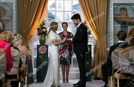 Ep 10021 Monday 2nd March 2020 - 2nd Ep Sarah Platt, as played by Tina O'Brien, arrives for her wedding with her bridesmaids, Bethany Platt and Lily and Harry, her page boy. Nick Tilsey and David Platt walk her down the aisle. Adam Barlow, as played by Sam Robertson, gazes at her adoringly. Adam and Sarah exchange vows and are married.