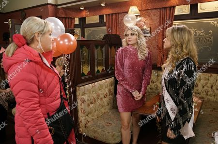 Ep 10018 & 10019 Friday 28th February 2020 Audrey Roberts, Bethany Platt, as played by Lucy Fallon, Carla, Cathy, Gail Rodwell, Leanne, Liz, Mary Taylor, Sally and Toyah gather at the Rovers for Sarah's hen do. But things don't go quite to plan when Beth Tinker, as played by Lisa George, storms into the Rovers and pointing the finger at Bethany, reveals how she's planning to run off to London with Daniel and Bertie.