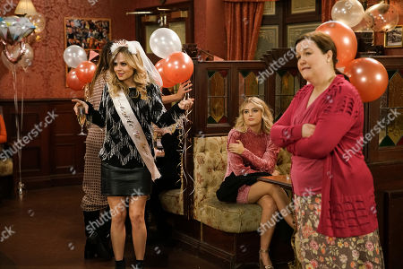 Stock Picture of Ep 10018 & 10019 Friday 28th February 2020 Audrey Roberts, Bethany Platt, as played by Lucy Fallon, Carla, Cathy, Gail Rodwell, Leanne, Liz, Mary Taylor, as played by Patti Clare, Sally and Toyah gather at the Rovers for Sarah's hen do. But things don't go quite to plan when Beth Tinker storms into the Rovers and pointing the finger at Bethany, reveals how she's planning to run off to London with Daniel and Bertie.