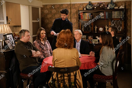 Ep 10018 & 10019 Friday 28th February 2020 The Barlows gather at No.1. Adam Barlow, as played by Sam Robertson, opens the sealed bids. With Steve McDonald, as played by Simon Gregson, Tracy Barlow, as played by Kate Ford, Ken Barlow, as played by William Roache, Carla Connor, as played by Alison King, and Peter Barlow, as played by Chris Gascoyne.
