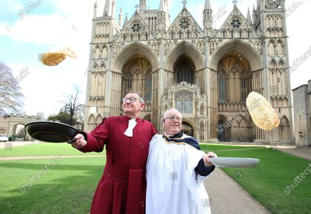 Editorial image of Shrove Tuesday Pancake Day race, Peterborough, Cambridgeshire, UK - 25 Feb 2020