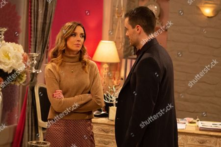 Ep 8757 Friday 13th March 2020 Andrea Tate, as played by Anna Nightingale, realises she might have to play dirty to get the truth out of Kim when she gets some advice from Nick, as played by Jon Glasgow.