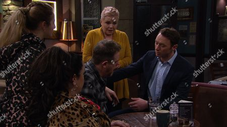 Ep 8756 Thursday 12th March 2020 - 2nd Ep Cathy and Heath's vegan cake and cookies go down a storm in the Cafe, but when Dan Spencer, as played by Liam Fox, has an allergic reaction Brenda Hope, as played by Lesley Dunlop, can't help but feel concerned. Soon it looks to others Brenda is to blame. With Liam Cavanagh, as played by Jonny McPherson.