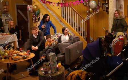 Ep 8752 Monday 9th March 2020 Vanessa Woodfield, as played by Michelle Hardwick, walks into her surprise party.