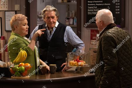 Stock Photo of Ep 8754 Wednesday 11th March 2020 Brenda Hope, as played by Lesley Dunlop, finds herself determined to compete with HOP when she hears they are opening a food outlet. With Rodney Blackstock, as played by Patrick Mower, Eric Pollard, as played by Christopher Chittell.