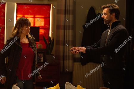 Ep 8740 & Ep 8741 Tuesday 25th February 2020 Arriving at the front door of Mulberry, Rhona Goskirk, as played by Zoe Henry, steels herself to enter. The door opens and on confronting Pierce Pierce, as played by Jonathan Wrather, Rhona's desperate to learn what his plan is and whether Vanessa and Johnny are safe.