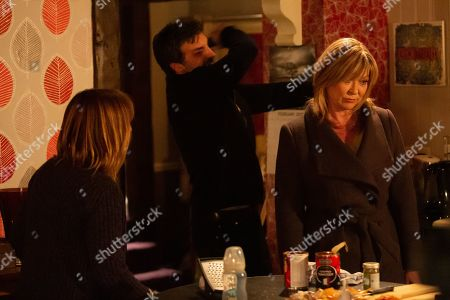 Ep 8740 & Ep 8741 Tuesday 25th February 2020 Pierce, as played by Jonathan Wrather, is distracted by a thud from upstairs. As he moves to check it out, Kim Tate, as played by Claire King, suddenly appears, demanding to know what's going on. But before Rhona Goskirk, as played by Zoe Henry, can get her to leave, Kim's knocked unconscious by Pierce.