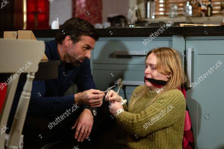 Ep 8739 Monday 24th February 2020 Vanessa Woodfield, as played by Michelle Hardwick, makes a last-ditch attempt to escape from Pierce, as played by Jonathan Wrather, but is thwarted.