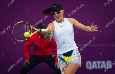 Saisai Zheng of China in action during her quarter-final match at the 2020 Qatar Total Open WTA Premier 5 tennis tournament