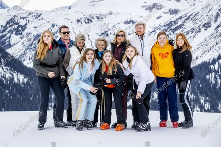 Stock Picture of King Willem-Alexander, Queen Maxima with children Princess Amalia, Princess Alexia, Princess Ariane and Princess Beatrix, Prince Constantijn, Princess Laurentien and their children, Countess Eloise, Count Claus-Casimir and Countess Leonore
