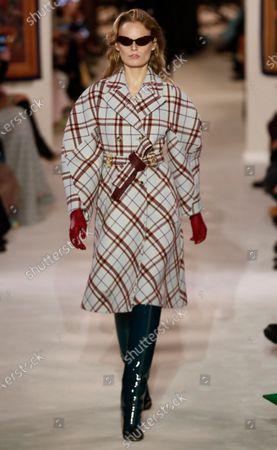 Stock Picture of Belgian model Hanne Gaby Odiele presents a creation from the Fall-Winter 2020/21 women's collection by Lanvin fashion house during the Paris Fashion Week, in Paris, France, 26 February 2020. The Fall-Winter 2020/21 women's collection runs from 24 February to 03 March 2020.