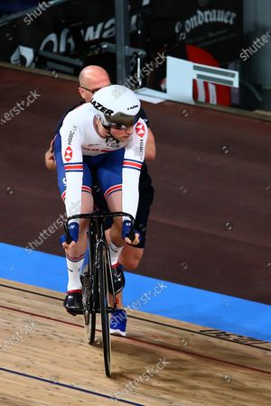 Jason Kenny of Great Britain competing in the Men's keirin first round, repechage
