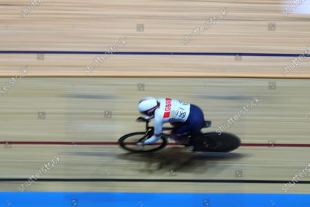 A slow shutter speed shot of Katy Marchant of Great Britain competing in the Women's sprint