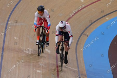 Stock Image of Katy Marchant of Great Britain competing in the Women's sprint