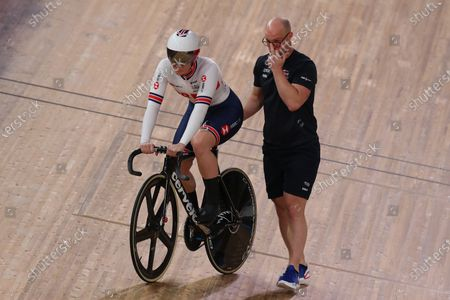 Katy Marchant of Great Britain competing in the Women's sprint