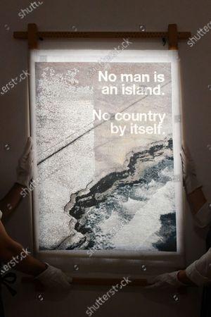 Stock Image of Wolfgang Tillmans, No Man Is An Island cushion, 2020