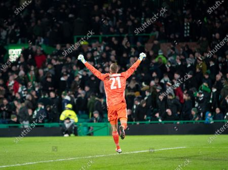 FC Copenhagen goalkeeper Karl-Johan Johnsson jumps in celebration after Dame N'Doye of FC Copenhagen scored to give them a 3-1 lead on the night and 4-2 on aggregate