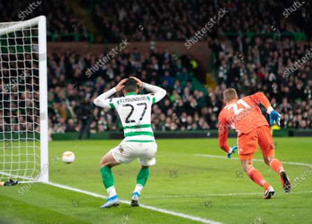 Mohamed Elyounoussi of Celtic reacts after FC Copenhagen goalkeeper Karl-Johan Johnsson jumps fumbled the ball to give Mohamed Elyounoussi of Celtic a chance to score. Elyounoussi passed the ball across the face of the empty goal and there was no team mate to tap it into the net.