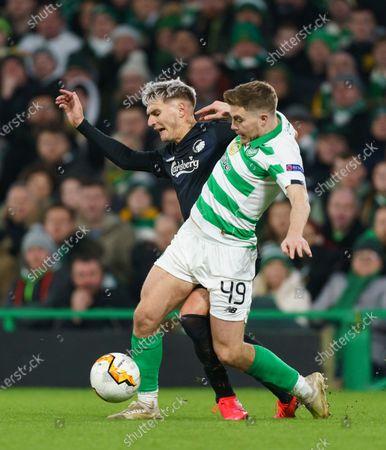 Guillermo Varela of FC Copenhagen challenged by James Forrest of Celtic