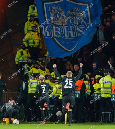 Guillermo Varela & Victor Nelsson of FC Copenhagen run to celebrate with team mate Michael Santos who scored to give them a 1-0 lead (agg. 1-2).