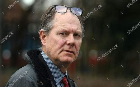 Stock Photo of Vaughan Smith, the owner of the Frontline Club and supporter of Julian Assange outside Woolwich Crown Court in London, Britain, 26 February 2020.  Julian Assange is facing extradition to the US on 18 charges and faces up to 175 years in prison if found guilty.