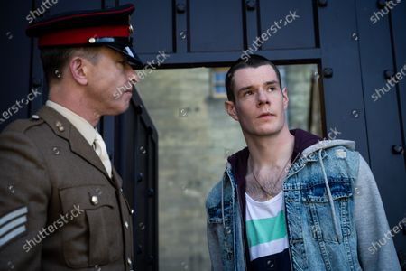 Stock Picture of Daniel Betts as Sergeant Morris and Connor Swindells as Adam Groff