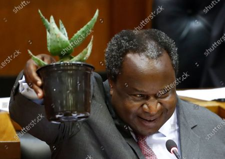 South African Finance Minister Tito Mboweni lifts a succulent plant as he delivers the 2020 Budget Speech to parliament in Cape Town, South Africa, 26 February 2020. South Africa's 2020 budget is the most challenging in post-apartheid history according to financial experts.