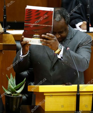 South African Finance Minister Tito Mboweni delivers the 2020 Budget Speech to parliament in Cape Town, South Africa, 26 February 2020. South Africa's 2020 budget is the most challenging in post-apartheid history according to financial experts.
