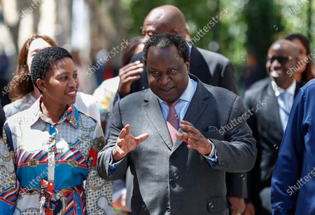 Stock Picture of South African Finance Minister Tito Mboweni (C) walks with his staff as he arrives to deliver the 2020 Budget Speech to parliament in Cape Town, South Africa, 26 February 2020. South Africa's 2020 budget is the most challenging in post-apartheid history according to financial experts.