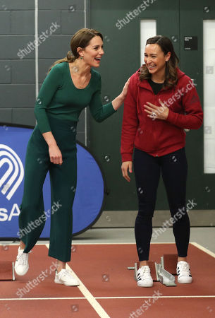 Catherine Duchess of Cambridge (left) with heptathlete Jessica Ennis during a SportsAid event at the London Stadium in Stratford