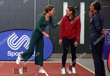 Catherine Duchess of Cambridge (left) with heptathlete Jessica Ennis (centre) during a SportsAid event at the London Stadium in Stratford
