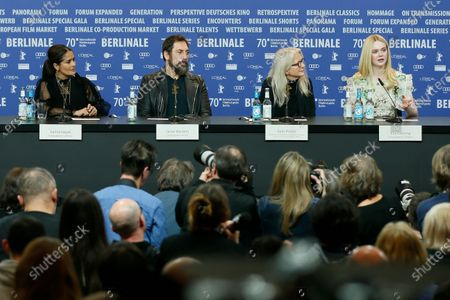 Stock Picture of Salma Hayek, Javier Bardem, Sally Potter and Ellen Fanning  attend the press conference for 'The Roads Not Taken' during the 70th annual Berlin International Film Festival (Berlinale), in Berlin, Germany, 26 February 2020. The movie is presented in the Official Competition at the Berlinale that runs from 20 February to 01 March 2020.