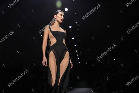 US model Bella Hadid presents a creation by Thierry Mugler fashion house during the Paris Fashion Week, in Paris, France, 26 February 2020. The presentation of the Fall-Winter 2020/21 women's collection runs from 24 February to 03 March 2020.