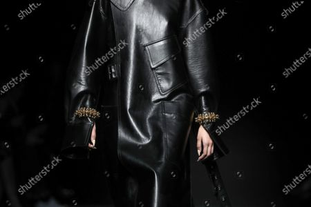 A model presents a creation by Thierry Mugler fashion house during the Paris Fashion Week, in Paris, France, 26 February 2020. The presentation of the Fall-Winter 2020/21 women's collection runs from 24 February to 03 March 2020.