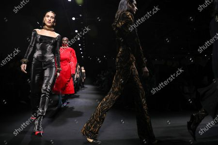 Models present creations by Thierry Mugler fashion house during the Paris Fashion Week, in Paris, France, 26 February 2020. The presentation of the Fall-Winter 2020/21 women's collection runs from 24 February to 03 March 2020.